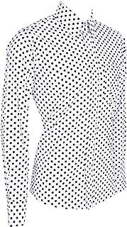 dise/ño Retro de Cuadros Negros y Blancos Camiseta de Manga Corta para Hombre Cuello de bot/ón Modelo 60s 70s