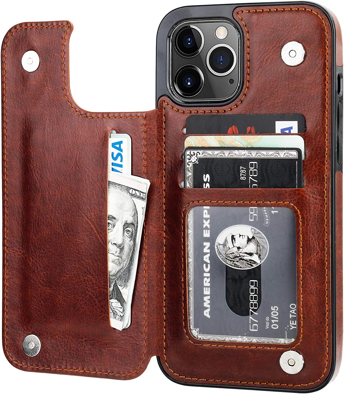 ONETOP Compatible with iPhone 12 Pro Max Wallet Case with Card Holder,PU Leather Kickstand Card Slots Case, Double Magnetic Clasp and Durable Shockproof Cover 6.7 Inch(Brown)