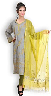 Grey & Green Cotton Suit with Chikankari