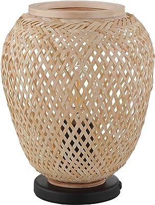 Eglo Lampe de Table Dembleby 1 Flamme Lampe de Table Vintage Nature Hygge Lampe de Chevet Bois Panier Tressé Brun Clair Lampe avec Interrupteur Acier Douille E27 Noir Naturel