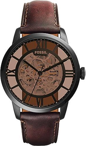 Fossil Homme Analogique Automatique Montre avec Bracelet en Cuir ME3098