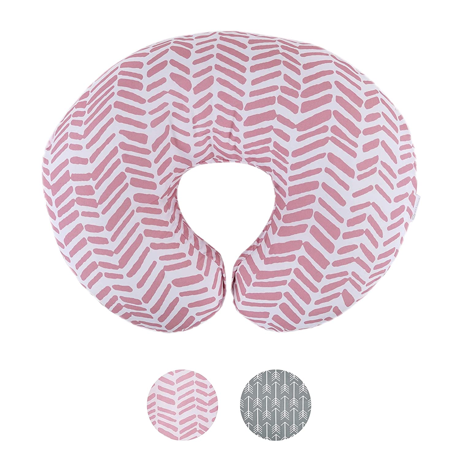 Water Resistant Nursing Pillow Cover | Premium Quality Soft Wipeable Fabric | Pink Herringbone Pattern | Minky Slipcover | Great for Breastfeeding Moms