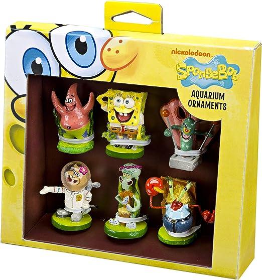 Penn-Plax Officially Licensed Spongebob 6 Piece Mini Aquarium Ornament Set – Great for Saltwater and Freshwater Tanks, Model:SBR1A