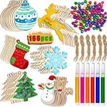 166pcs Christmas Wooden Ornaments Set, Unfinished Wood Craft Ornaments for Kids, Christmas Wood Ornaments Bulk with Bells,...