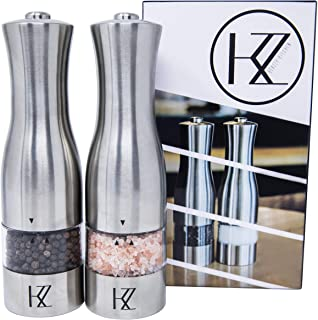 Automatic Electric Salt and Pepper Grinder Set by KEAZZY - Strong Gourmet Battery Operated Stainless Steel Mills with Light - Ceramic window - One Hand Operation - Adjustable Coarseness - (Pack of 2)