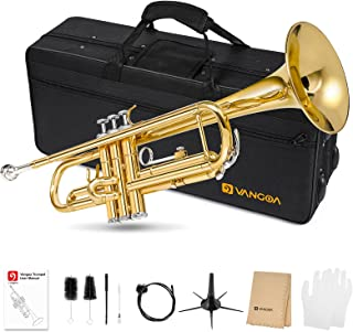 Vangoa Bb Trumpet Standard Brass Gold Trumpet for Beginners Students with Hard Case, Stand, 7C Mouthpiece, Gloves, Valve O...