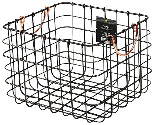 Small Milk Crate Wire Basket - Antique Pewter with Copper Colored Handles - Threshold™ : Target