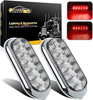 Partsam 2 x 6 Oval Chrome Red LED Stop Turn Tail Lights Clear Lens Surface Mount for Trailer Truck Utility Boat, Sealed Red Led Oval trailer RV tail lights with Chrome Rings Dual Modes
