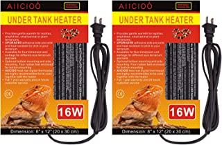 AIICIOO Reptile Heating Pad - Under Tank Heater 16 Watt Terrarium Heater for Hermit Crab Lizard Snake 2 Pack