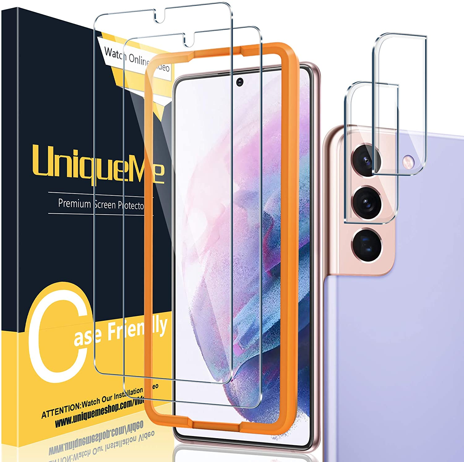 [ 2+2 Pack ] UniqueMe Compatible with Samsung Galaxy S21 Plus / S21+ 5G - 6.7 inch Tempered Glass + Camera Lens Protector Screen Protector with Easy installation Frame [NOT for Samsung Galaxy S21].
