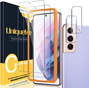 """[ 2+2 Pack ] UniqueMe Compatible with Samsung Galaxy S21 Plus / S21+ 5G - 6.7 inch Tempered Glass + Camera Lens Protector Screen Protector with Easy Installation Frame[NOT for Samsung S21 6.2""""]."""