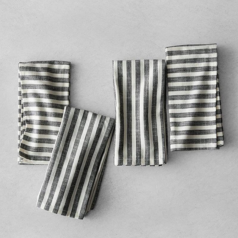 Hearth And Hand With Magnolia Striped Napkins Set Of 4 Black Cream Joanna Gaines Collection Limited Edition