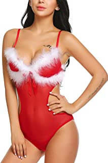Avidlove Christmas Teddy Lingerie for Women Sexy Santa Bodysuit Red One Piece Babydoll