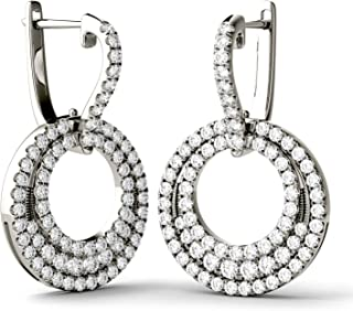Forever Classic 2.0mm Round Moissanite Leverback Drop Earrings, 1.63cttw DEW by Charles & Colvard