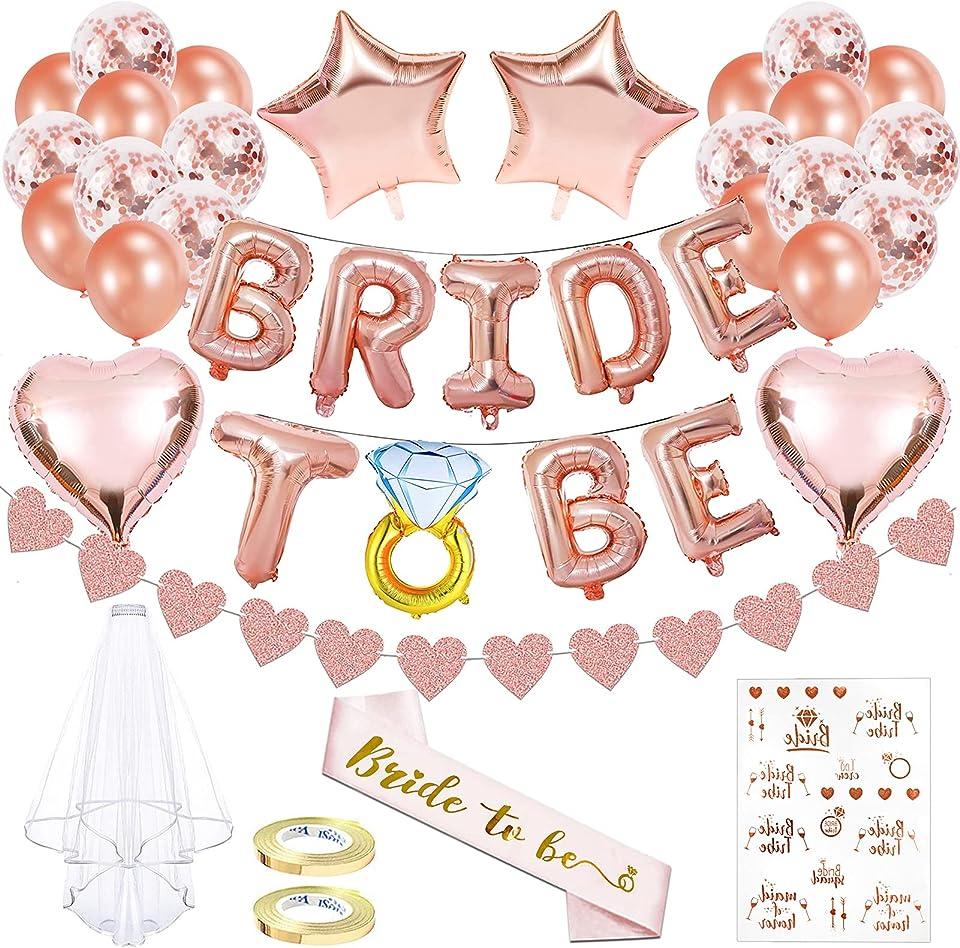 Braut to Be Deko,Junggesellenabschied Deko,Junggesellenabschied,Deko mit Banner,Rosegold Luftballons,JGA Deko Luftballons Set,Party Junggesellenabschied Deko,bride to be luftballons(Rosegold)