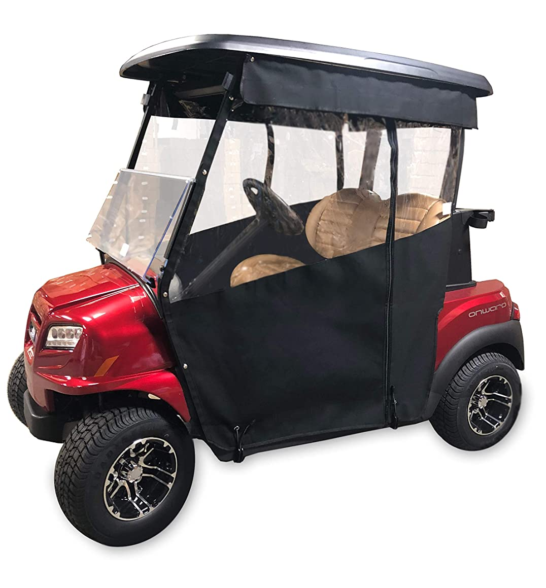Golf Cart Cover – 3-Sided Track Style Marine Grade Vinyl Cart Cover for Club Car (DS2000+) – Drivable Golf Cart Cover, Rain Cover for Golfers – Fits Golf Bags, Utility Box or Rear Facing Seat