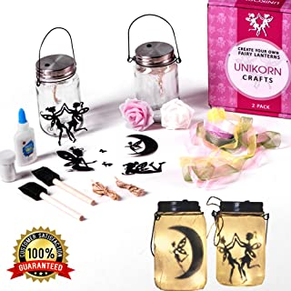 Fairy Lantern Craft Kit - DIY Fairy Lights (2 Pack) - Art Crafts for Girls Party - Children Toy Gift Set Kits - Make Your Own Hanging Lanterns - LED Kid Projects Idea
