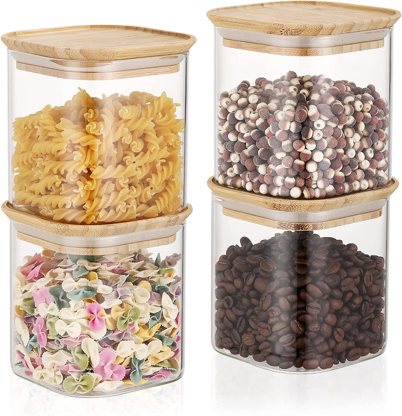 GlssHM 4 Pack Glass Jars wooden Containers Finally resale start New Orleans Mall with Bamboo Airtight