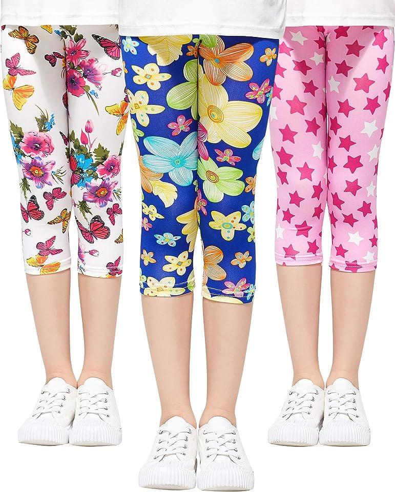 Mädchen Leggings 3/4 Capri-Hosen 3er-Pack