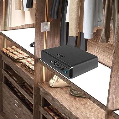 Moutec Biometric Fingerprint Safe, Slide-Away Handgun Safe for Two Pistols Storage Safe Drawer Safe for Home and Vehicle
