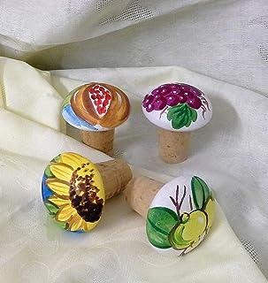 Le Ceramiche Del Re, Tappi di Sughero in Ceramica, Confezione da 4 Tappi di Sughero, Turacciolo, Personalizzabili e Fatti ...