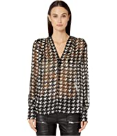 YIGAL AZROUËL - Houndstooth Burnout V-Neck Blouse
