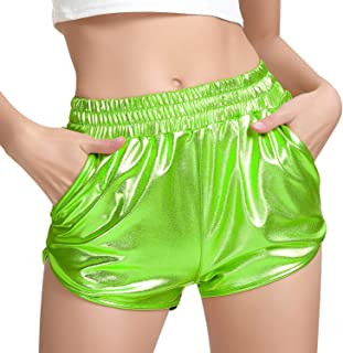 Women's Metallic Shorts Rave Sparkly Hot Outfit Shiny...