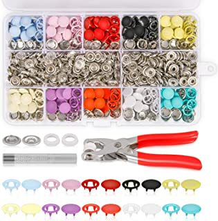K Kwokker 804Pcs Grommets Snap Fasteners Kit 9.5mm 10 Colors Leather Rivets Buttons Metal Press Studs Environmentally Metal Prong Ring Button for Leather, Coat, Down Jacket, Jeans Clothing