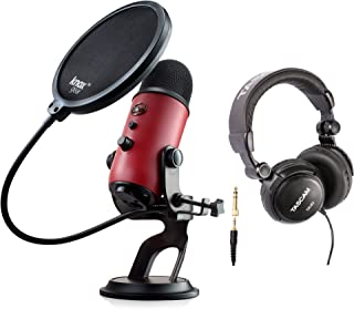 Blue Yeti USB Red Microphone with Studio Headphones and Knox Pop Filter