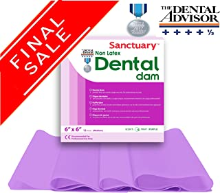 (LAST CHANCE SALE) NON LATEX Sanctuary Dental Rubber Dam 6X6 Medium Mint 15/PK Purple Color
