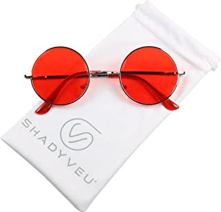 Retro Colorful Tint Lennon Style Round Groovy Hippie Wire Sunglasses
