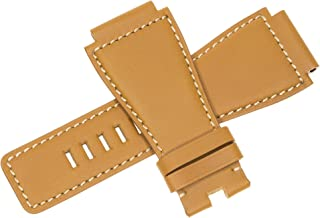 Top Grade Calf Leather Strap Gold Brown Watch Band fits Bell & Ross BR01 BR03 Beige Stitch