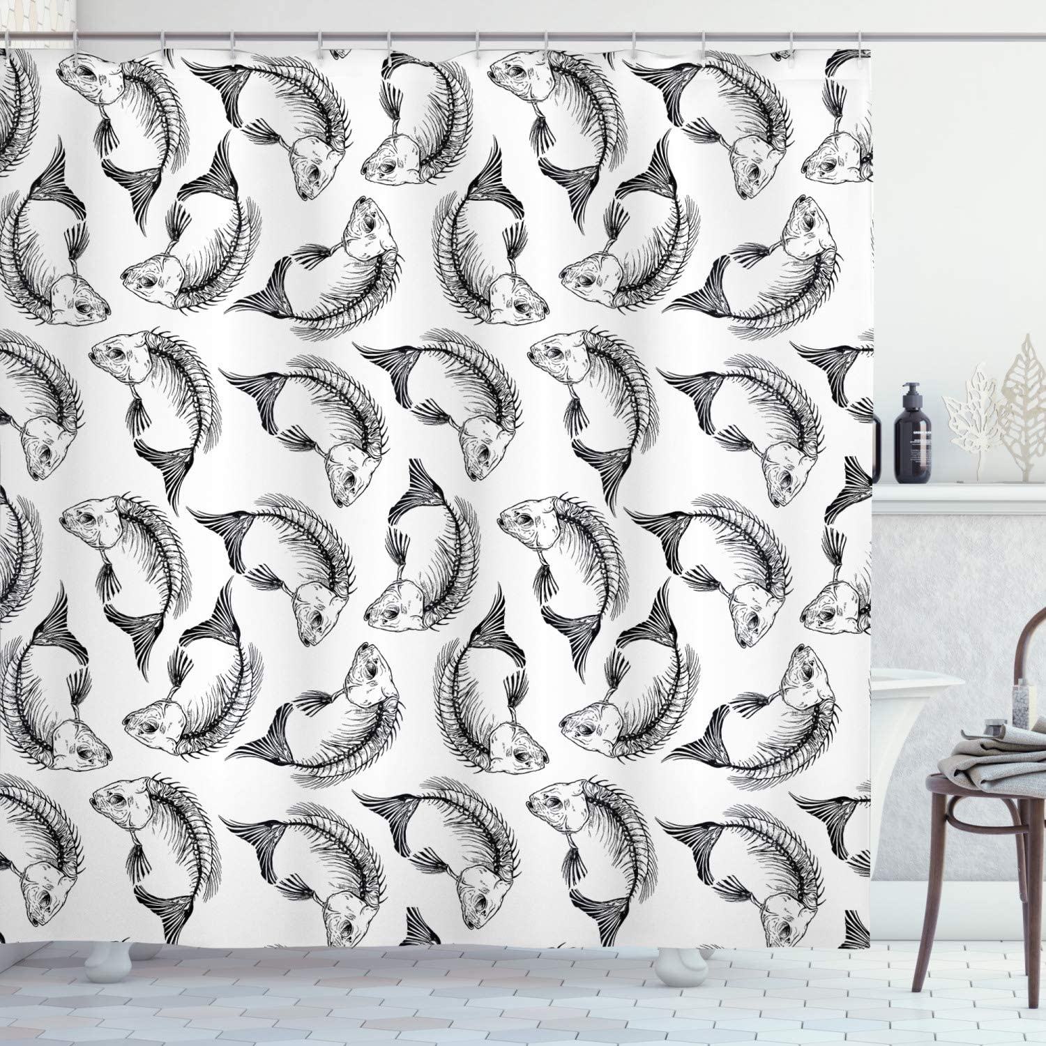 5 popular Ambesonne Skull Super intense SALE Shower Curtain Dead Fish Themed Patte Bones and