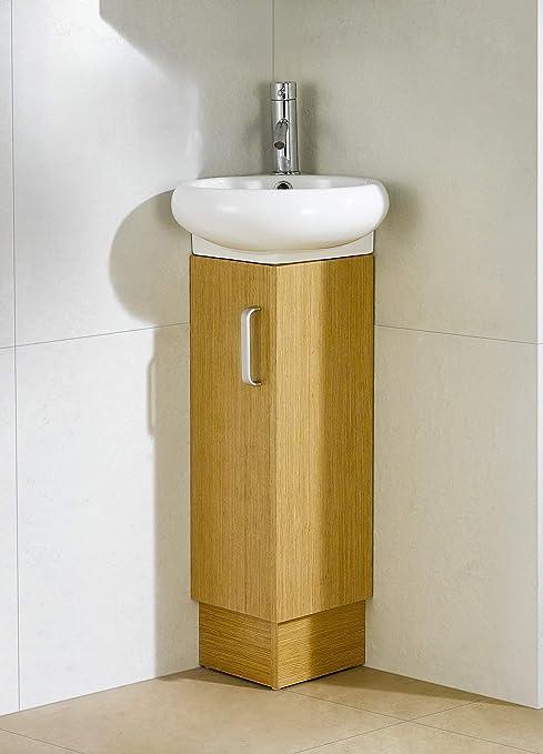 Amazon Com Milan Corner Bathroom Vanity Set Yellow Oak Tools Home Improvement