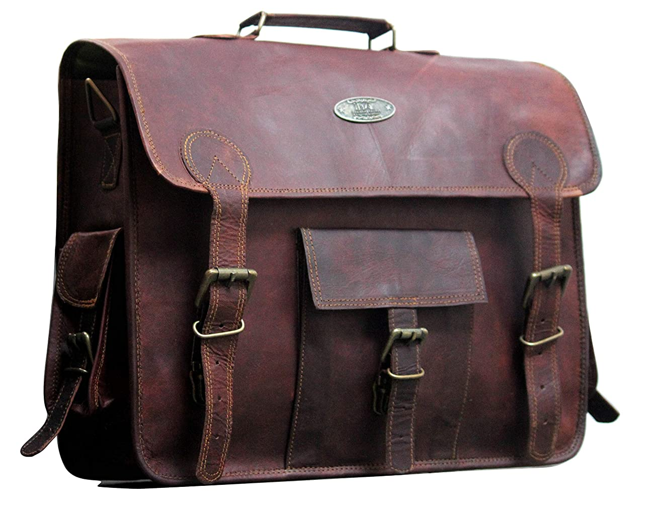 Vintage Handmade Leather Messenger Bag | 18 inch Laptop Briefcase | Best Computer Satchel School Distressed Bag