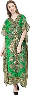 SKAVIJ Women's Tunic Viscose Kaftan Beachwear Maxi Dress (Free Size)