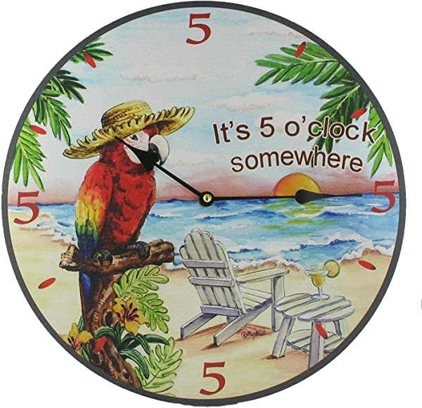 Macaw Parrot Wall Clock Tropical Theme Design
