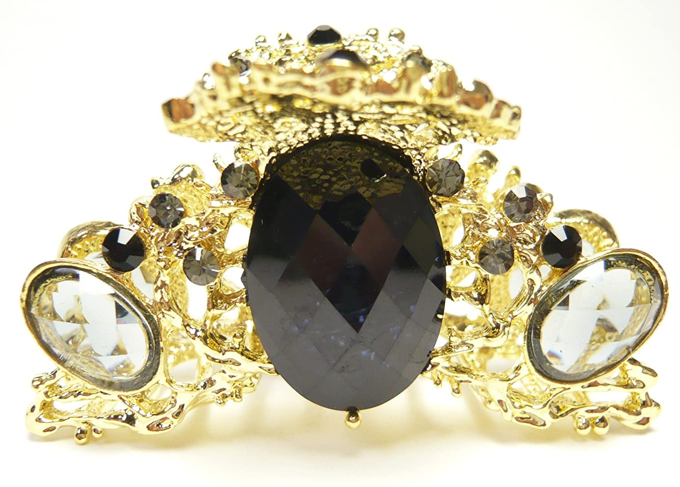 寄生虫優しい秘書3色 しっかりとまる ラインストーン ダイヤカット クリスタル ステンドグラス ヘアクリップ 96222
