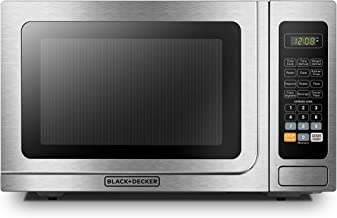 BLACK+DECKER EM036AB14 Digital Microwave Oven with Turntable Push-Button Door,Child Safety Lock,1000W,1.4 cu.ft,Stainless Steel