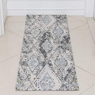 AMIDA 3x5 Entryway Rug Green and Beige Washable Non Slip - Floral Diamond Trellis Vintage Chic - Flat Weave - Non Shedding - Dog Friendly Easy Care - 5x3 Kitchen Rug - Indoor Floor