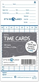 Pyramid 42415 Genuine Time Cards for 2500, 2600 & 2650 Auto Aligning Time Clocks, 100/Pk