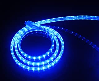 CBConcept UL Listed, 65 Feet, 7200 Lumen, Blue, Dimmable, 110-120V AC Flexible Flat LED Strip Rope Light, 1200 Units 3528 SMD LEDs, Indoor Outdoor Use, Accessories Included Ready to use