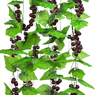 Molliy 8FT 5pcs Artificial Greenery Chain Grapes Vines Leaves Foliage Simulation Fruits for Home Room Garden Wedding Garland Outside Decoration