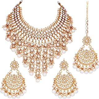 Aheli Indian Traditional Ethnic Bollywood Kundan Necklace Earrings and Maang Tikka Set Jewelry for Women