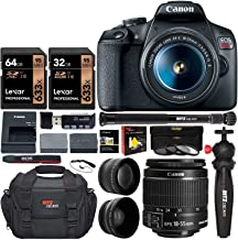 Canon EOS Rebel T7 Digital SLR Camera Travel Bundle + EF-S 18-55mm is II Lens + 58mm 2X Professional Telephoto & 58mm Wide Angle Lens + 96GB Memory+ Compact monopod+ Table Tripod+ Bag &More