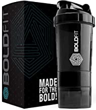 Boldfit Gym Spider Shaker Bottle 500ml with Extra Compartment, 100% Leakproof Guarantee, Ideal for Protein, Preworkout and BCAAs, BPA Free Material Sipper Bottle (Black)