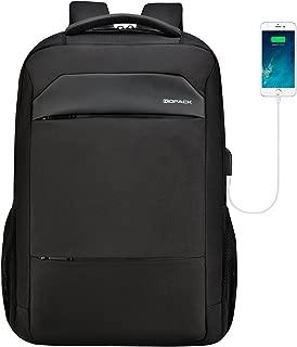kopack Slim Laptop Backpack USB Charging Waterproof Zipper Computer Backpack Black Travel Bag for Business College for 15 15.6 Inch