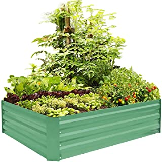 FOYUEE Metal Raised Garden Bed Kit Elevated Planter Box Outdoor Patio Frame for Vegetables 4' x 3' x 1', Green