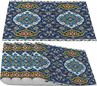 Moslion Moroccan Placemats,Tile Arabesque Effects Border Oriental Motif Style Artwork Royal Blue Place Mats for Dining Table/Kitchen Table,Waterproof Washable Outdoor Dinner Table Mats,Set of 4
