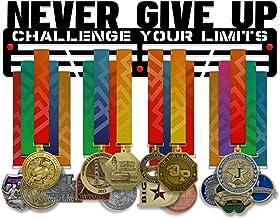 VICTORY HANGERS Geef nooit Uitdaging Uw limieten Medal Houder Display Rack - 3 Bars Zwart Gecoat 3 mm Staal Metalen Hanger...